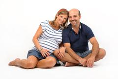 couple together on the floor - stock photo
