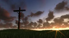 Jesus on Cross, meadow and timelapse sunrise Stock Footage