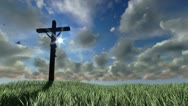 Stock Video Footage of Jesus on Cross, meadow and timelapse sunset