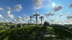 Jesus on Cross, meadow with olives and time lapse clouds - stock footage