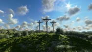 Stock Video Footage of Jesus on Cross, meadow with olives and time lapse clouds