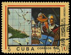 Cuba - circa 1982: a stamp printed in cuba shows ship santa maria, devoted di Stock Photos