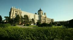 European culture and architecture. Art-historical Museum through the trees in Vi Stock Footage