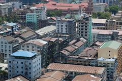rangoon downtown. bird's eye view. yangon. myanmar. - stock photo