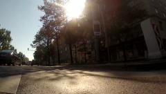 Low angle in motion shot of the car driving on Vienna ring Stock Footage