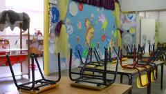 Empty kindergarten class Stock Footage