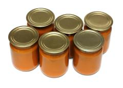 vegetable paste in glass jars - stock photo