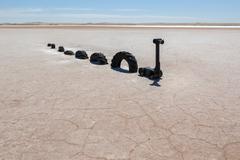 lochiel monster on salt lake. lochiel. south australia. - stock photo