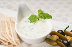 Greek tzatziki yogurt dip and pita bread Stock Photos