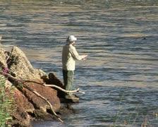 Fisherman on the Murray river NSW, Australia Stock Footage