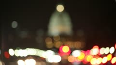 US Capitol rack focus at night Washington DC Stock Footage