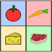 groceries squares - stock illustration