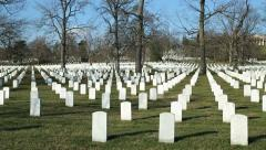 Arlington Cemetery tilt down sunny day Washington DC Stock Footage