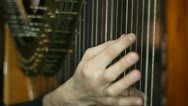 Male hands playing the harp Stock Footage