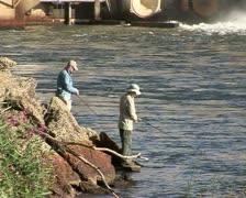 Fishermen fishing on the Murray river, NSW, Australia Stock Footage