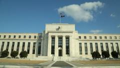 FRB federal reserve bank building tilt down 25p Stock Footage