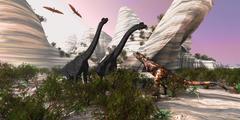 carnotaurus attack - stock illustration