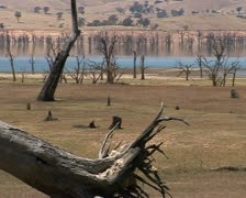 Lake Hume Australia, Hume weir, dam during a drought Stock Footage