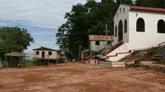 Village in Amazon rain forrest - stock footage