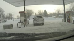 Stock Footage 1080p - Snow - gas station in winter Stock Footage