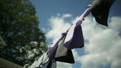 Clothes Blowing on Clothesline Stock Footage