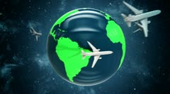 Airplanes around the world. Stock Footage