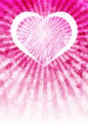 Pink love heart light rays background Stock Illustration