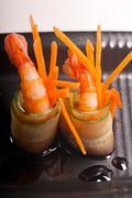 colorful  prawn shrimps appetizer snack - stock photo