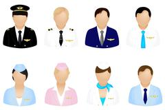 aircraft crew icons - stock illustration
