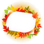 Autumn leaf and blank gift tag Stock Illustration