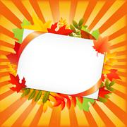 Autumn leafs and blank gift tag Stock Illustration