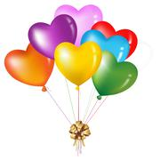 bunch of colorful heart shape balloons - stock illustration