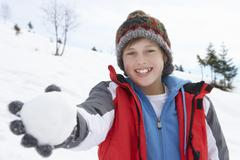 pre-teen boy on winter vacation - stock photo