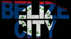 Belize City text with fluttering flag animation Stock Footage