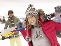 Young couple on ski vacation Stock Photos