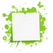 blank note paper with green blot - stock illustration