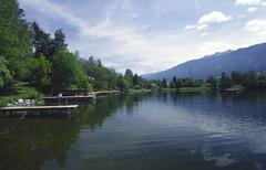 bank lake lans landscape water innsbruck area - stock photo