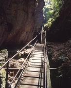 canyon footbridge wooden bridge landscape wood - stock photo