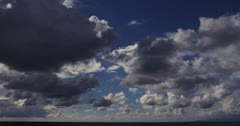 Fast Rolling Clouds Over Ocean Timelapse 5K TL3 Stock Footage