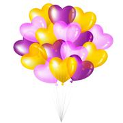 Bunch of colorful heart shape balloons Stock Illustration