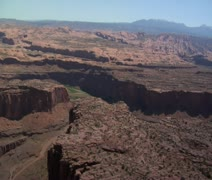 Aerial shot of red rock cliffs and Colorado River Stock Footage