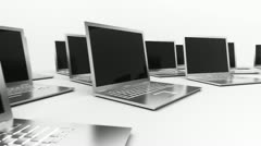Laptops pc computers network, mobile computing and communication. Stock Footage