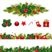 Christmas borders set with xmas garland Stock Illustration