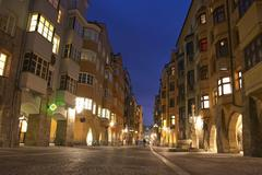 Stock Photo of city centre view night exposure old town center