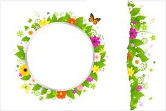 Circle and border from flowers Stock Illustration