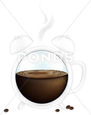 Stock Illustration of coffee cup alarm clock