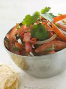 Dish of Tomato Red Onion and Coriander Relish Stock Photos