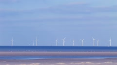 Off shore wind turbines and birds Stock Footage