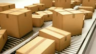 Stock Video Footage of Warehouse interior boxes logistics industry. Factory cargo goods storage package