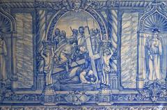 Design blue tile white azulejos material europe Stock Photos